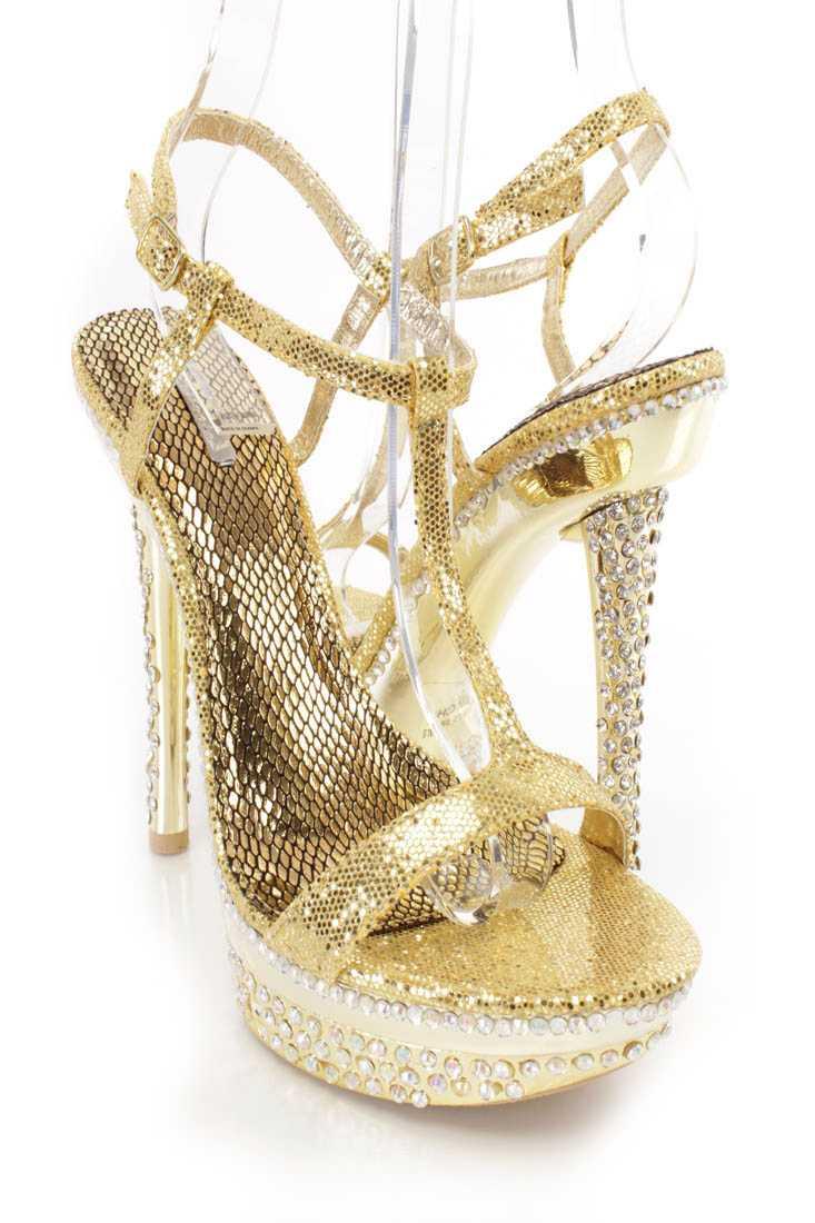 Gold T Strap Rhinestone Platform High Heels Glitter