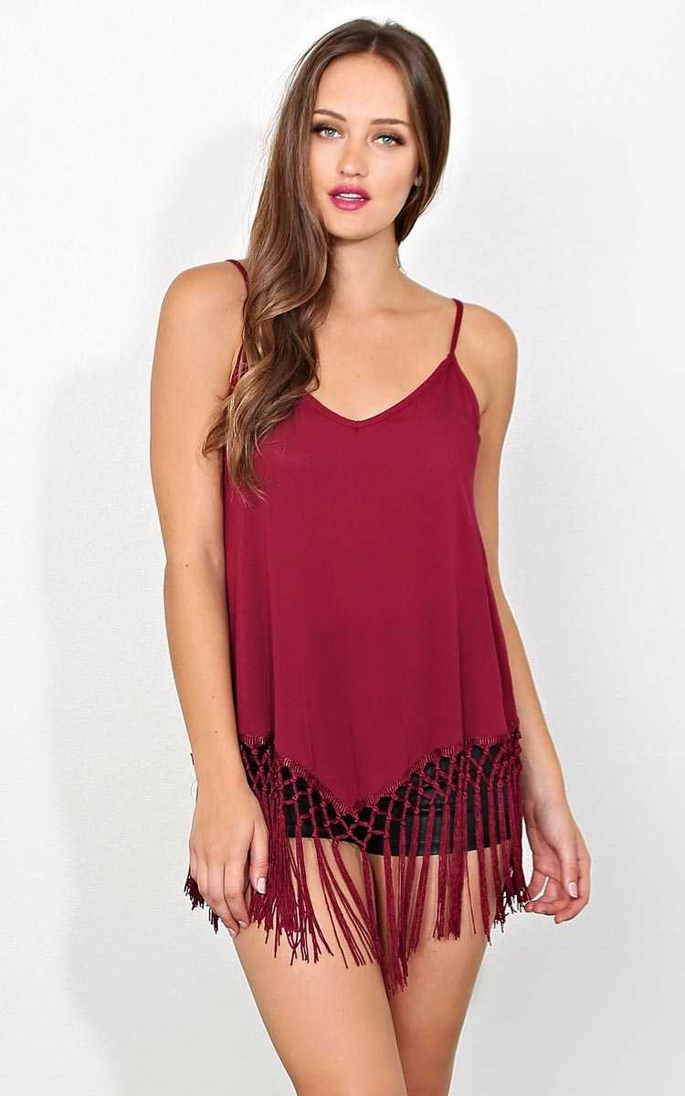 Boho Swing Fringe Tank - SML - Burgundy in Size Small by Styles For Less