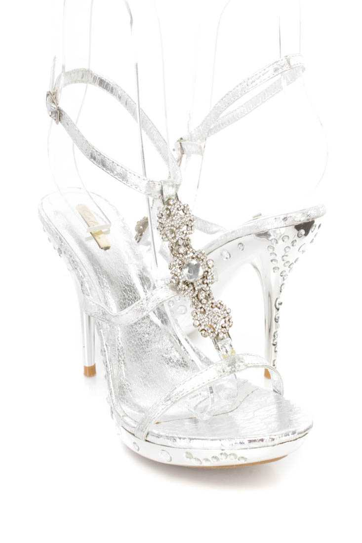 Silver Rhinestone Strappy Pendant Heels Faux Leather