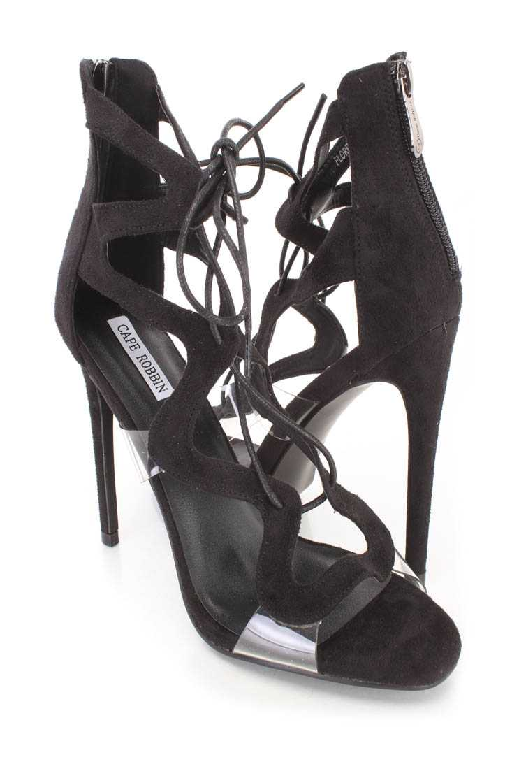 Black String Lace Up Single Sole Heels Faux Suede