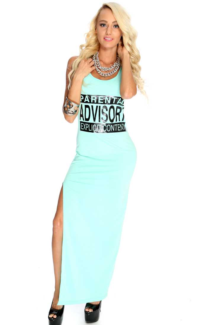 Mint Graphic Design Maxi Dress