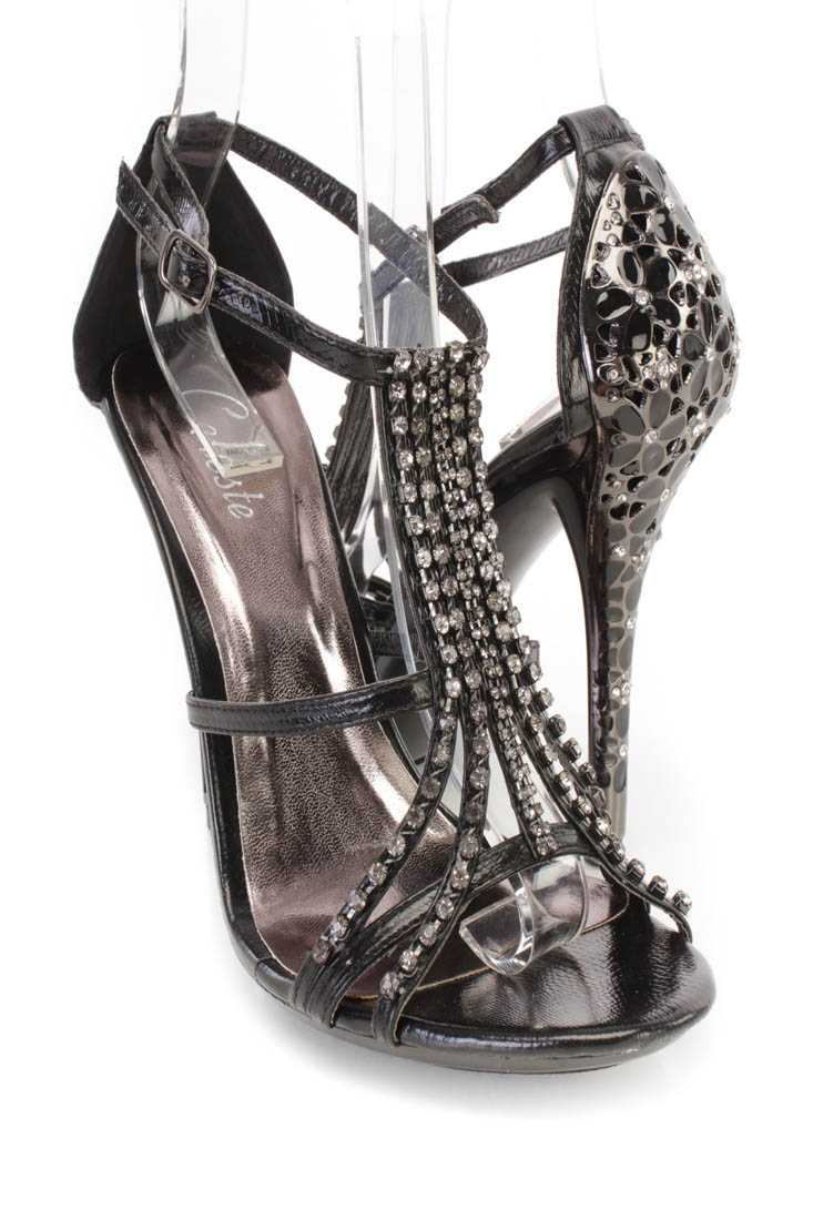 Black Rhinestone Strappy High Heels Faux Leather
