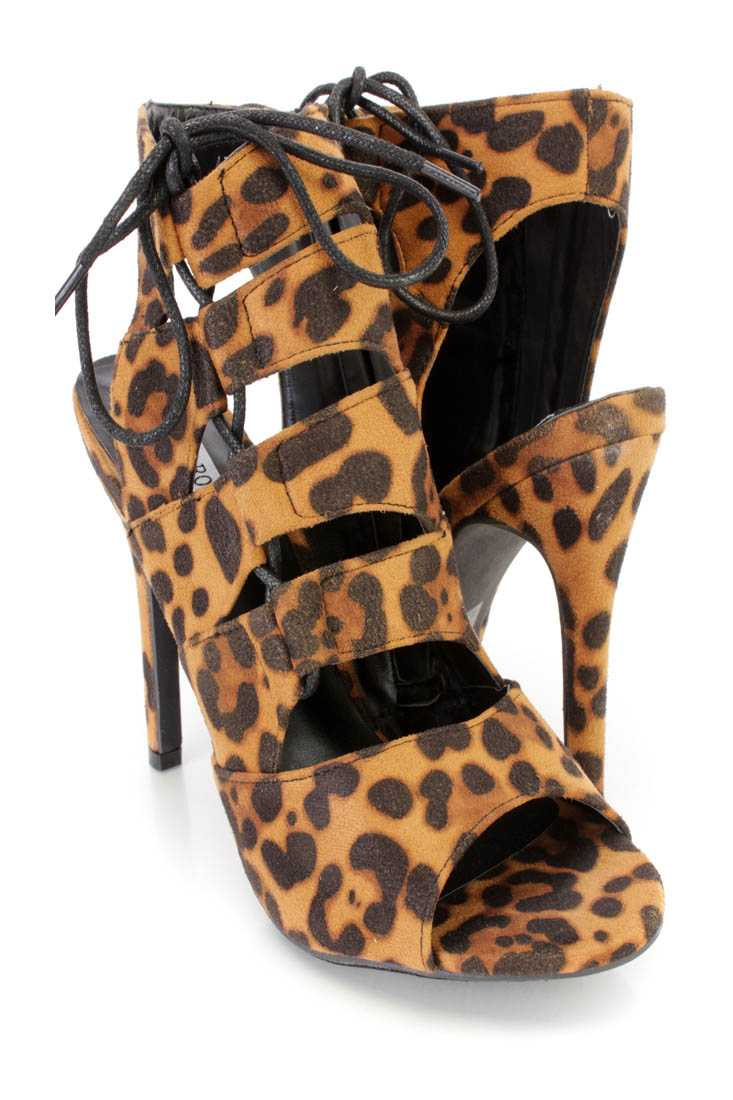 Leopard Strappy Lace Up Single Sole Heel Booties Nubuck