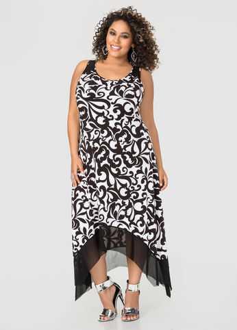 Mesh Hi-lo Maxi Dress