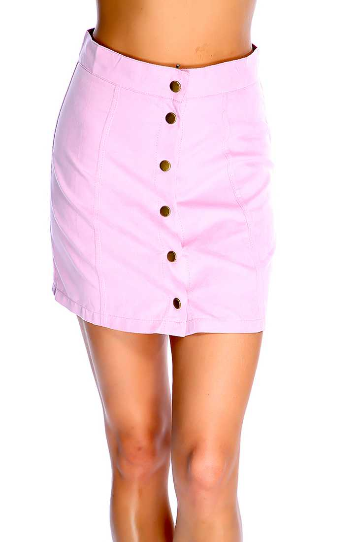 Sexy Pink Button Up Mini Skirt