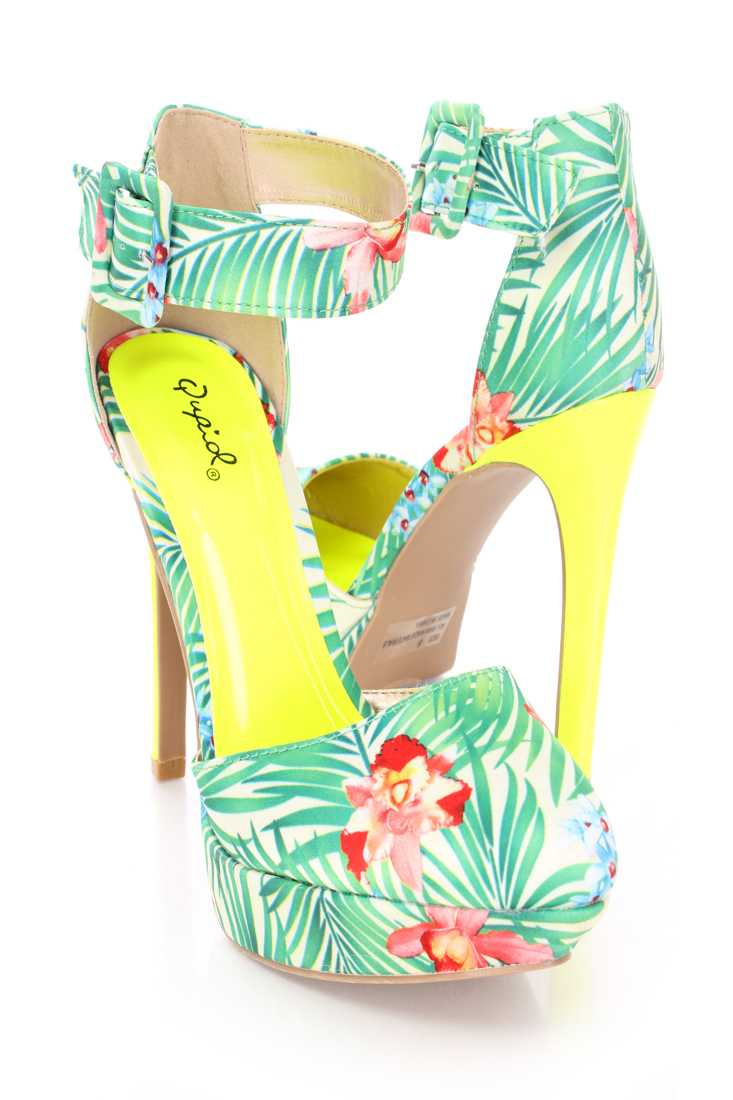 Green Multi Printed Platform High Heels Fabric