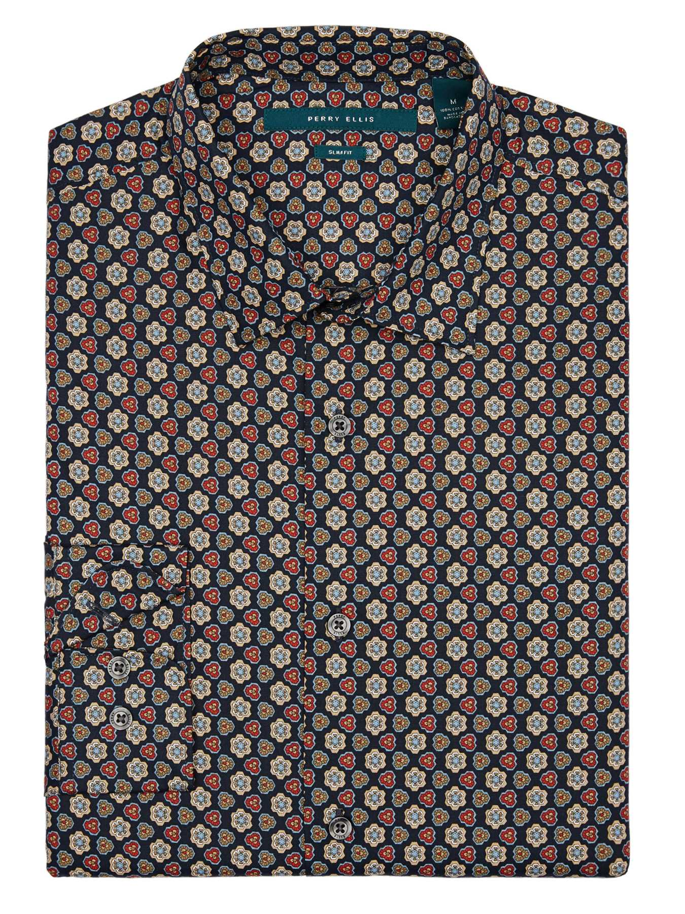 Perry Ellis Slim Fit Geometric Floral Shirt