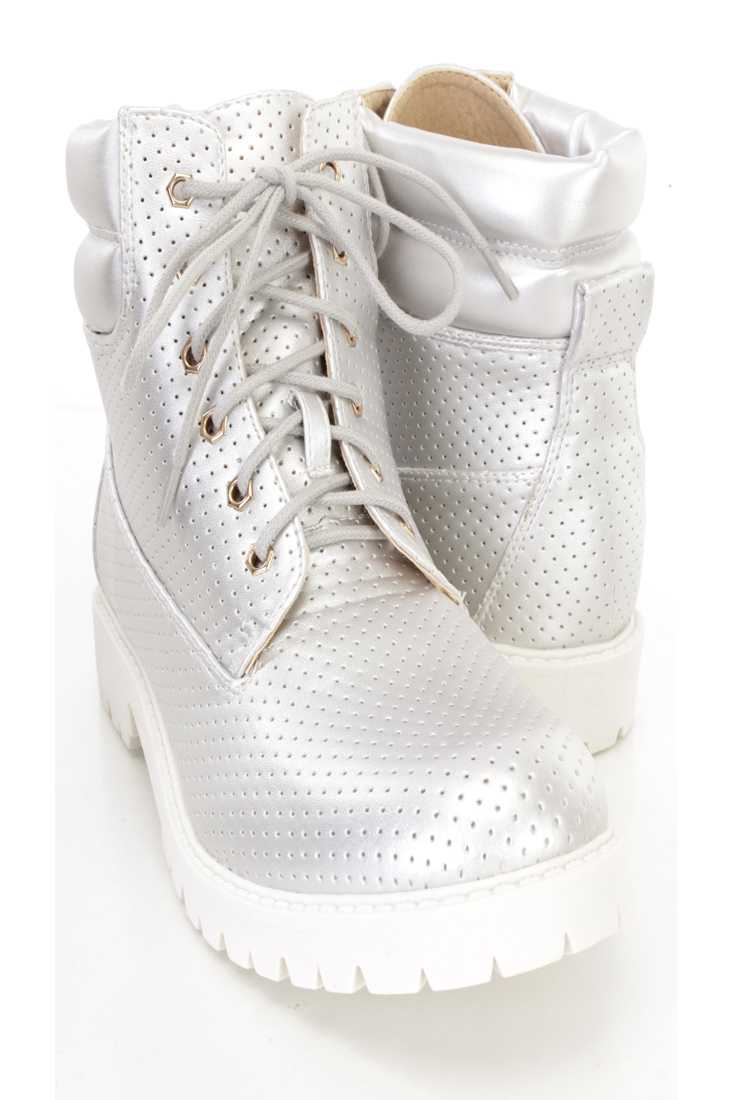 Silver Perforated Lace Up Boots Faux Leather