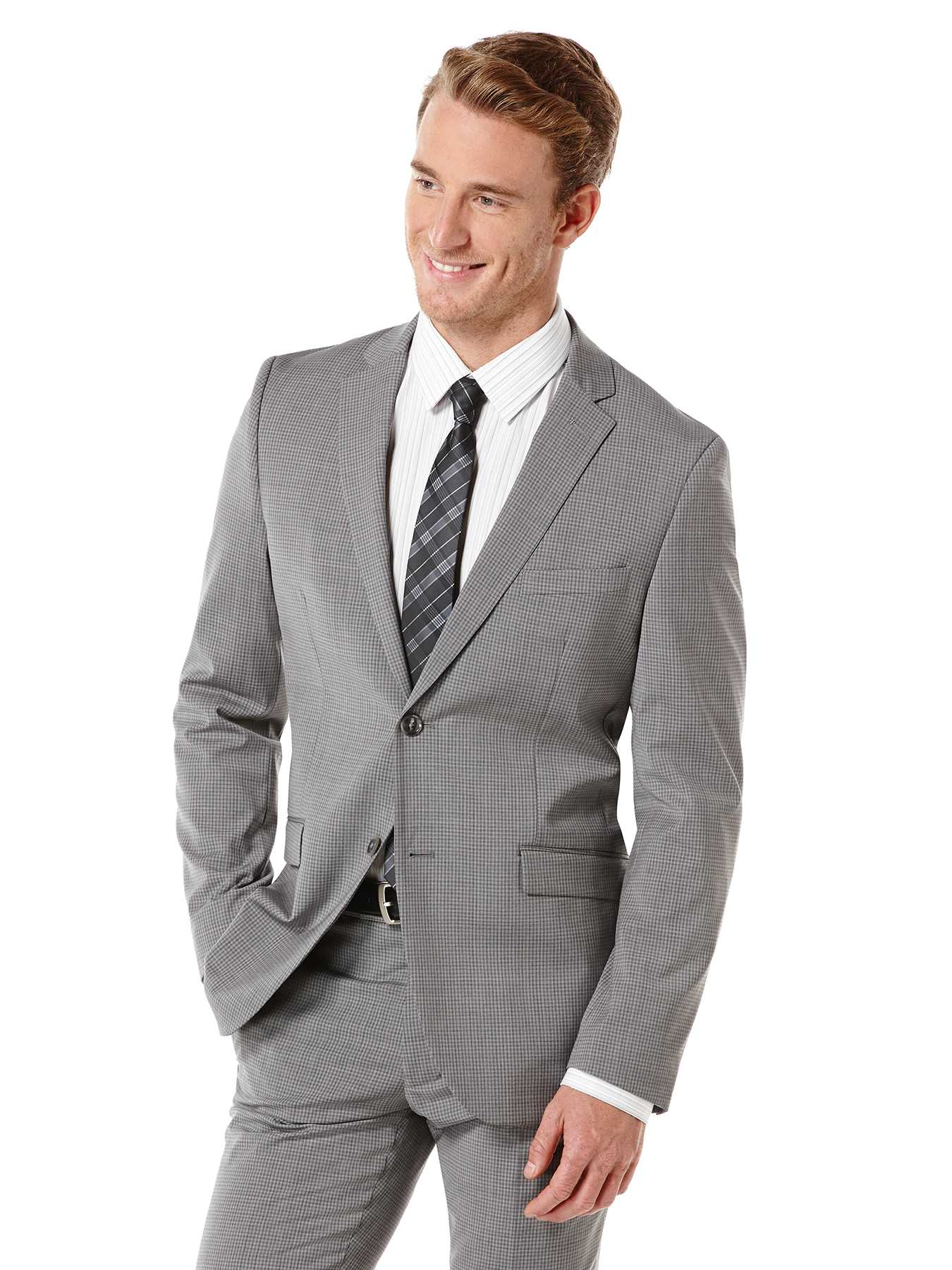 Perry Ellis Slim Fit Micro Check Suit Jacket