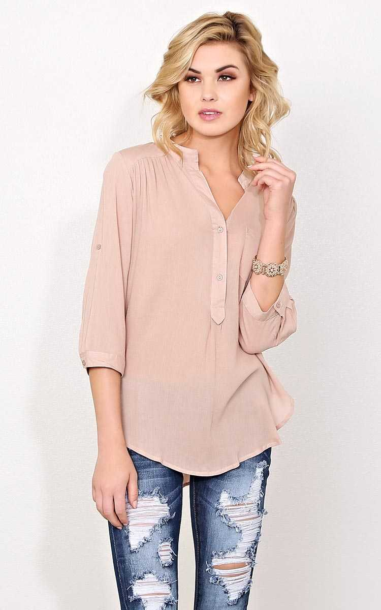 Alice Taupe Woven Top - MED - Taupe in Size Medium by Styles For Less