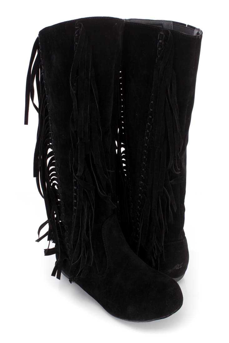 Black Fringe Stitched Mid Calf Boots Faux Suede