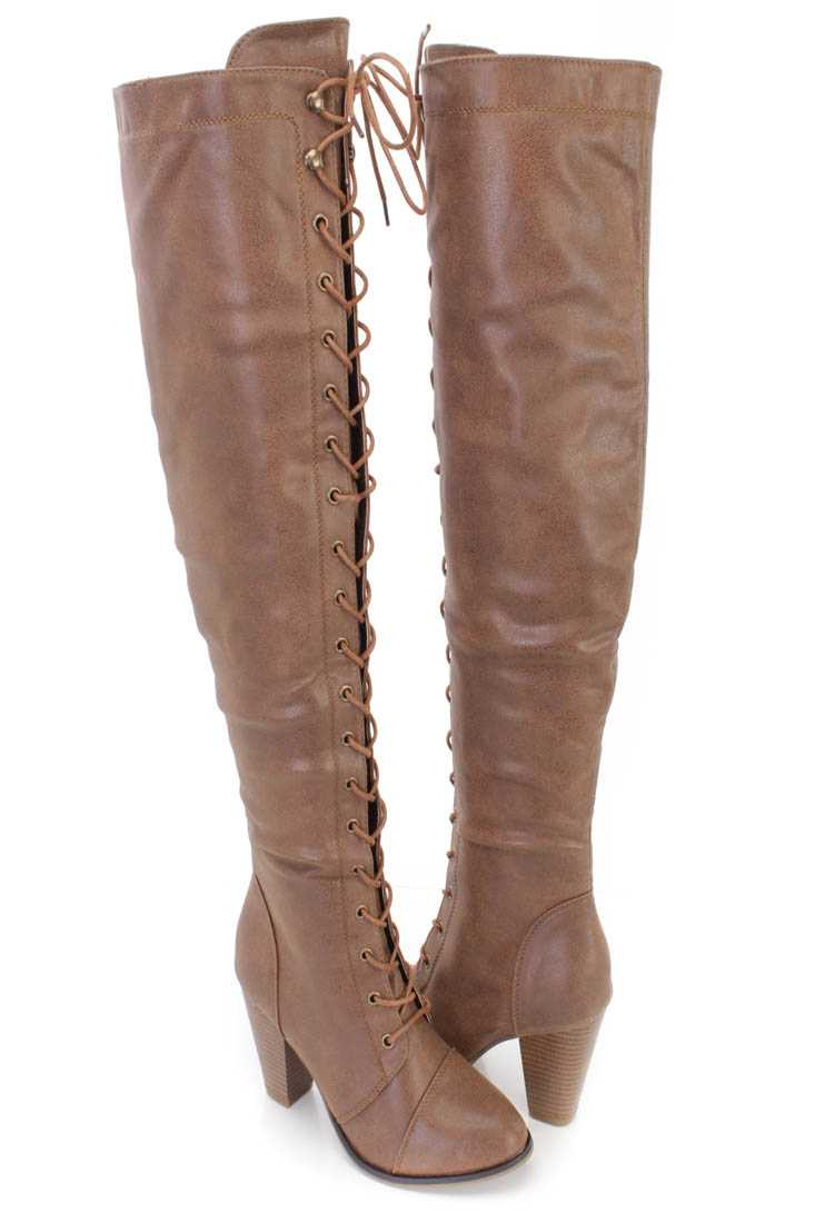 Tan Lace Up Thigh High Heel Boots Nubuck Faux Leather