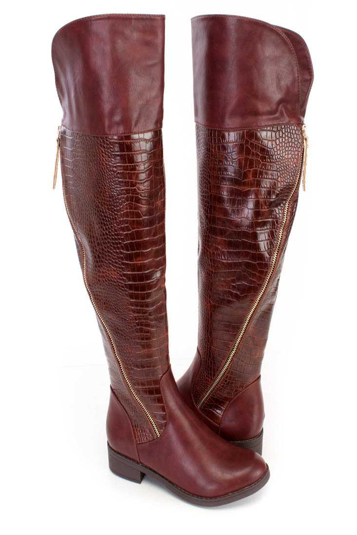 Fall/Winter Maroon High Thigh Boots Faux Leather