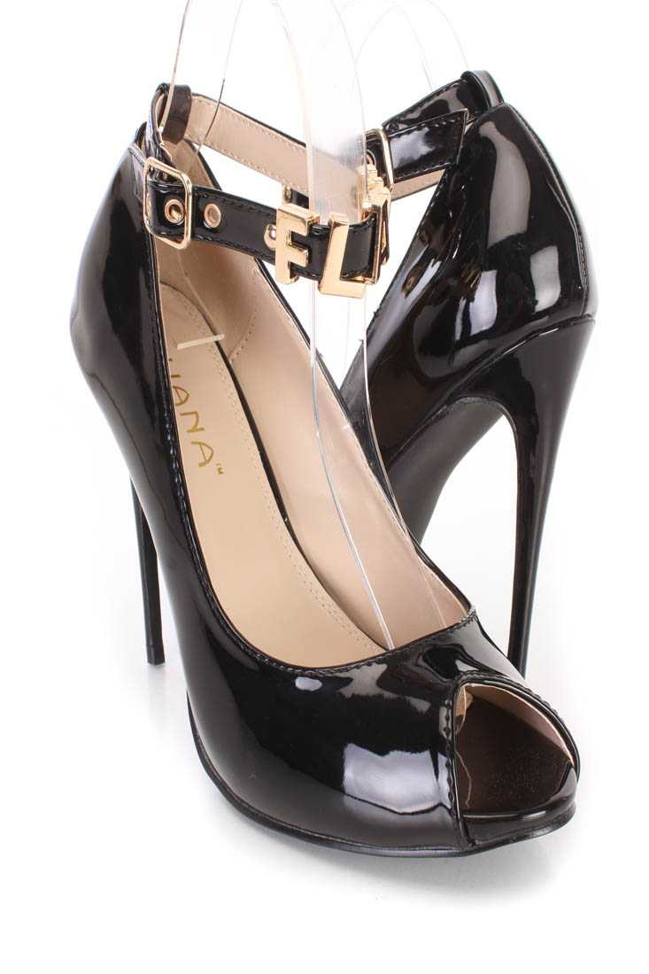 Black Flawless Ankle Strap Single Sole Heels Patent