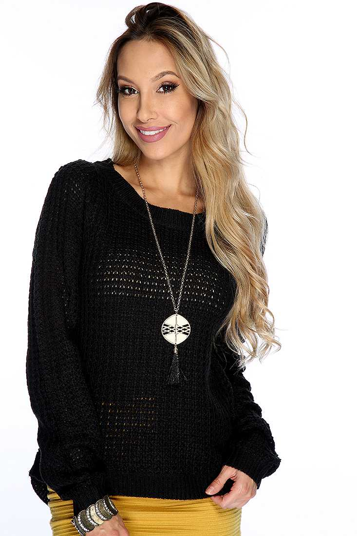 Black Open Knit Long Sleeve Cute Fall Sweater