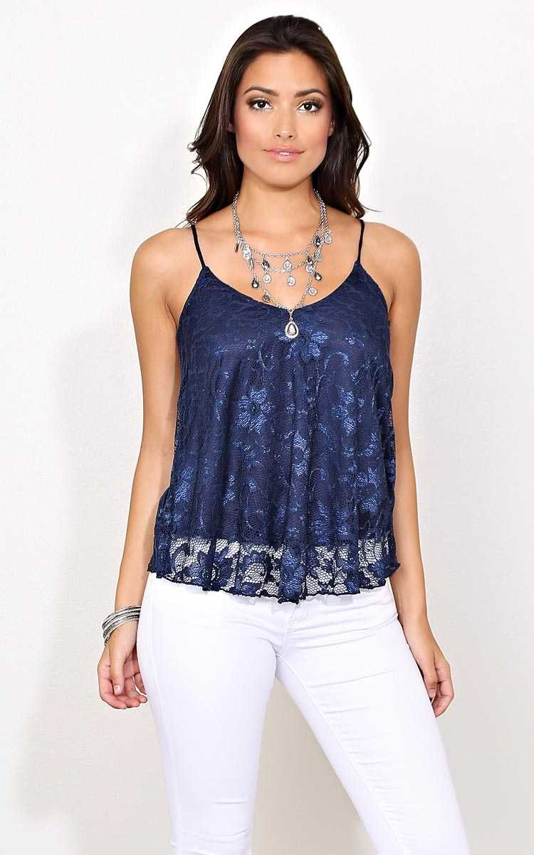 Loraina Knit Lace Tank - - Navy in Size by Styles For Less