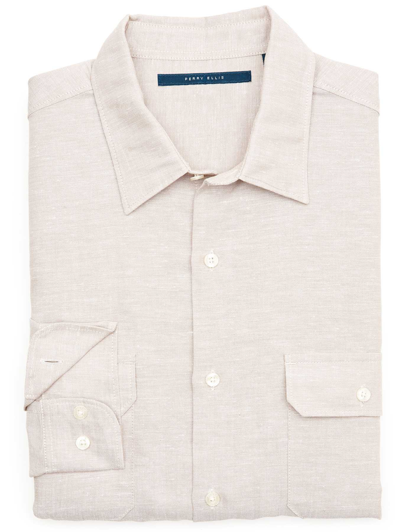 Perry Ellis Solid Linen Pocket Shirt