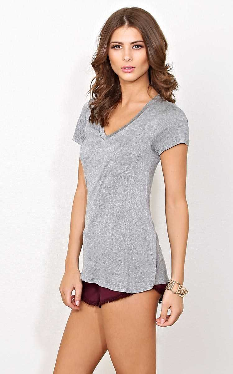 Grey Days End Knit Pocket Tee - LGE - Heather in Size Large by Styles For Less