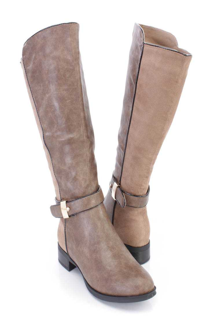 Taupe Knee High Riding Boots Faux Leather Suede