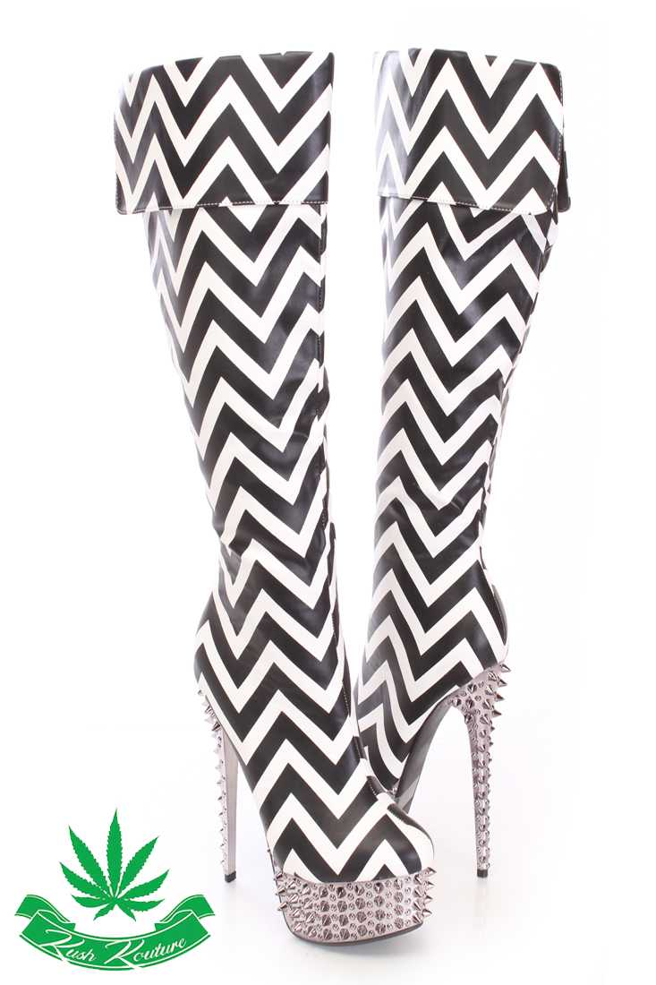 Black White Chevron Spiked Knee High Boots Faux Leather