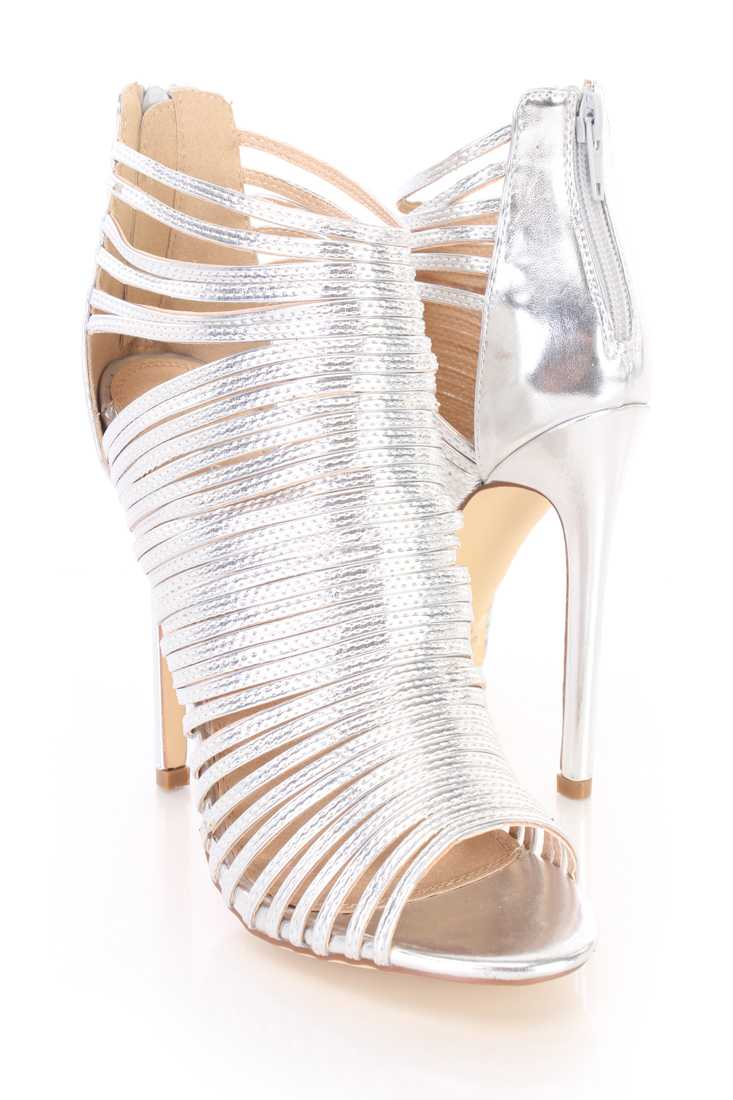 Silver Strappy Peep Toe Sandal Booties Faux Leather