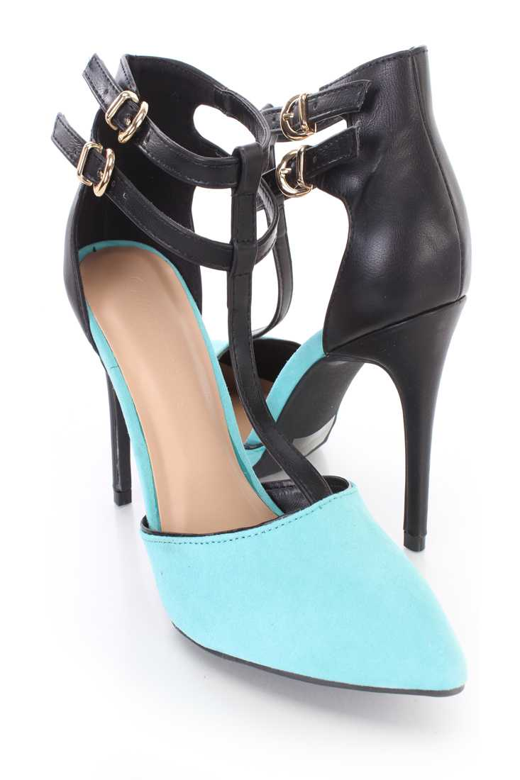 Turquoise T Strap Single Sole Heels Faux Suede
