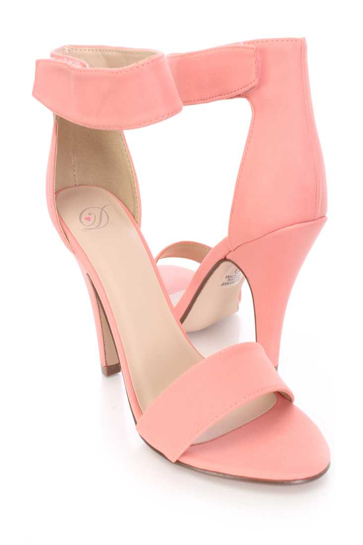 Salmon Open Toe Single Sole Ankle Strap Heels Faux Leather