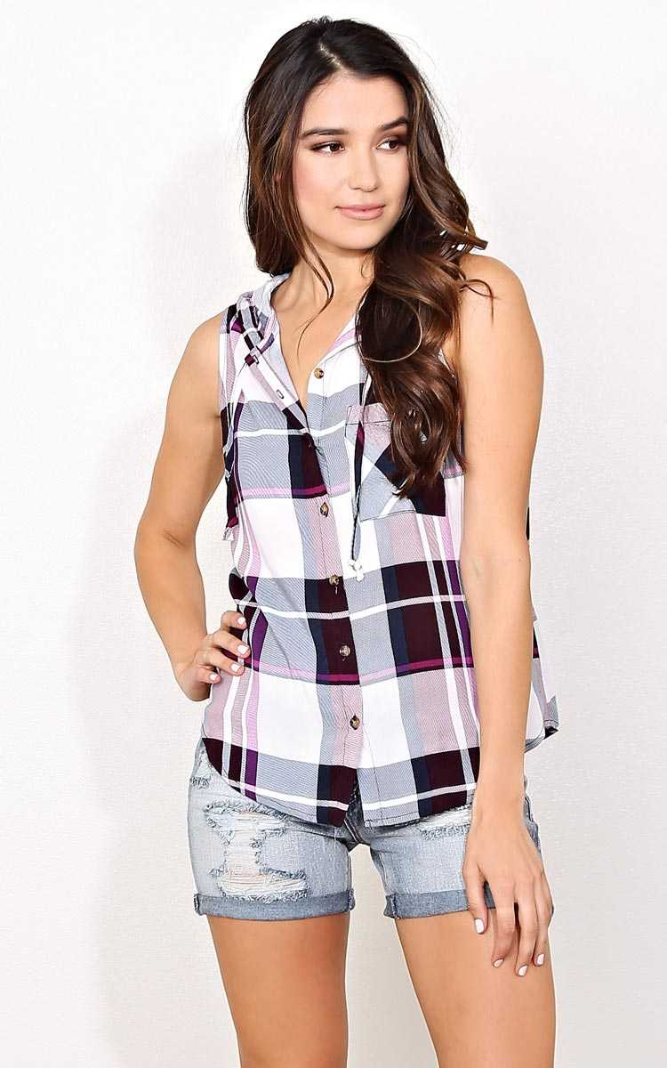Street View Hooded Plaid Top - Wine Combo in Size by Styles For Less