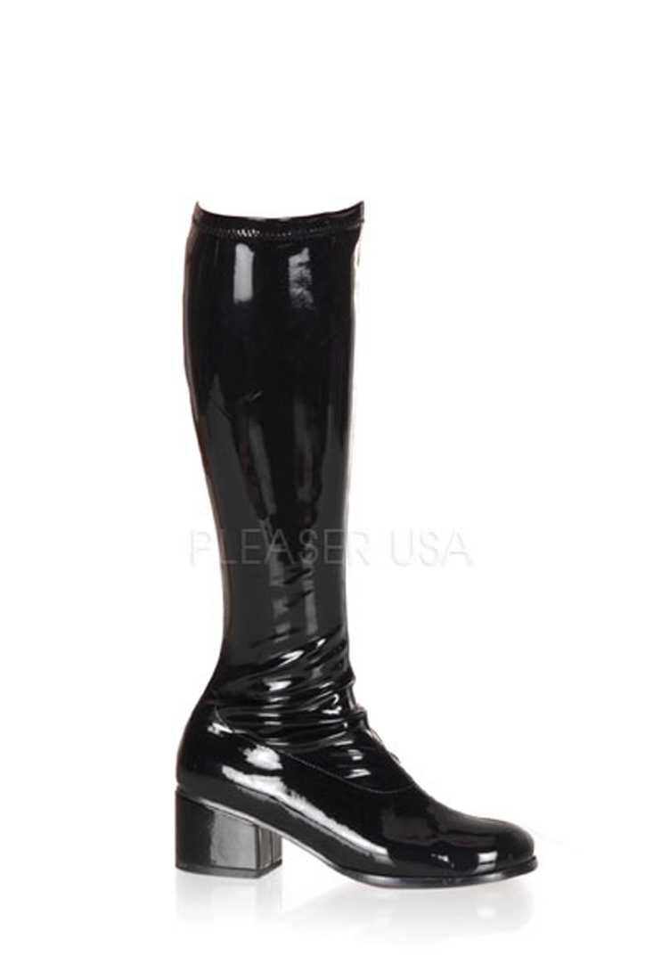 Black Chunky Heel Retro Boots Patent Faux Leather