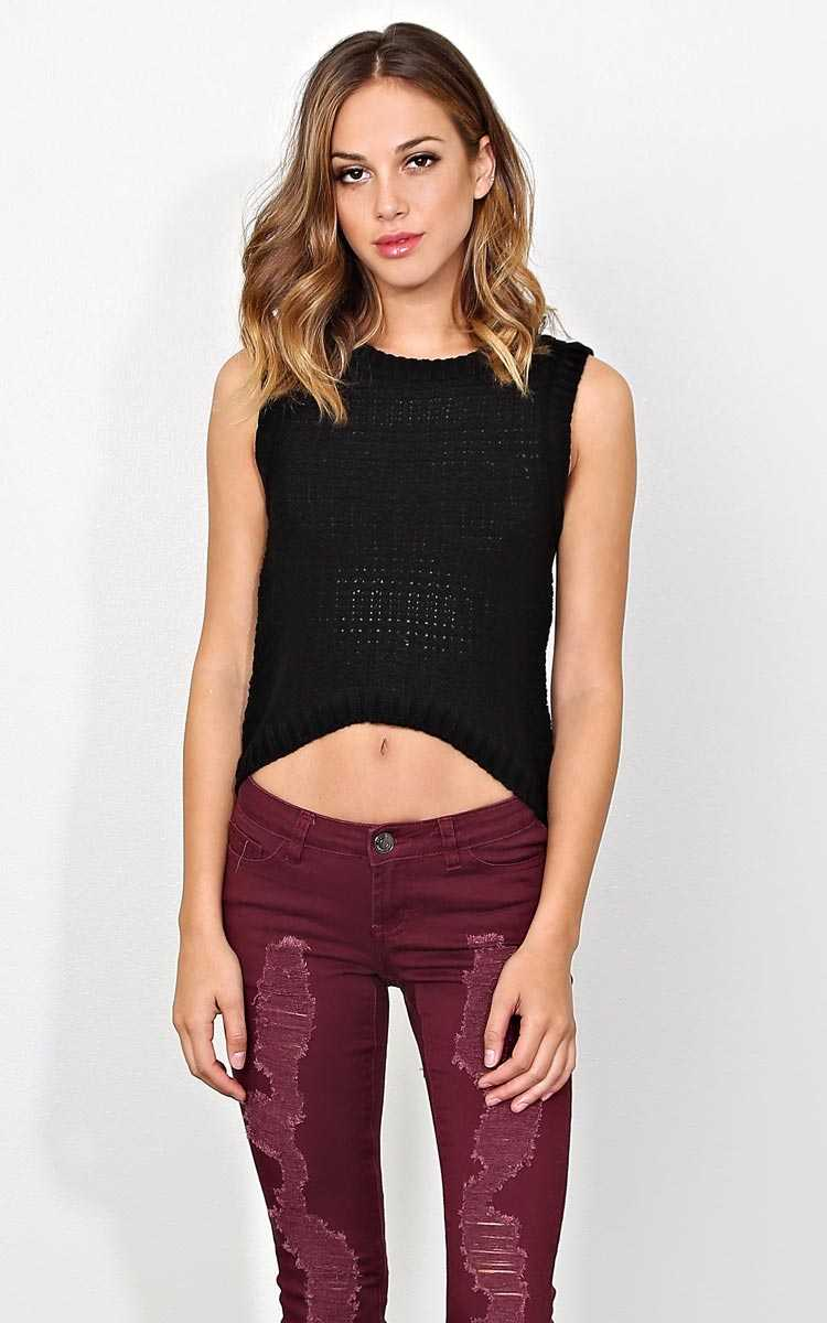 Tara Sweater Knit High Low Top - LGE - Black in Size Large by Styles For Less