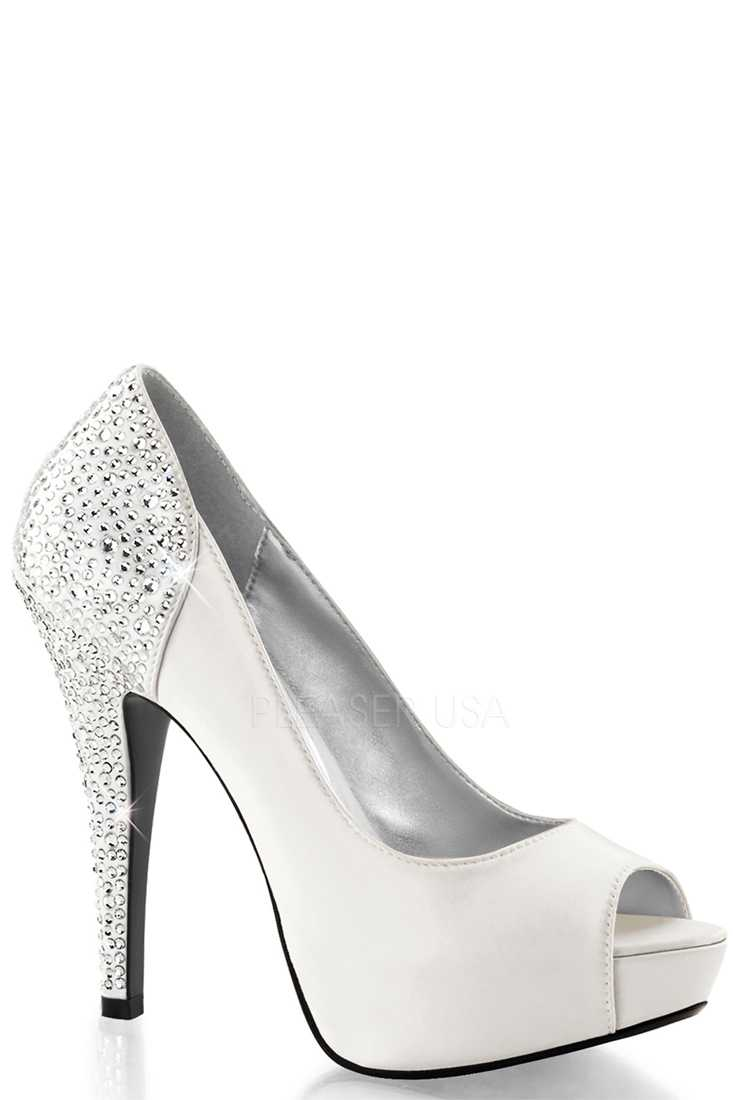 Ivory Rhinestone Pump High Heels Silk Satin
