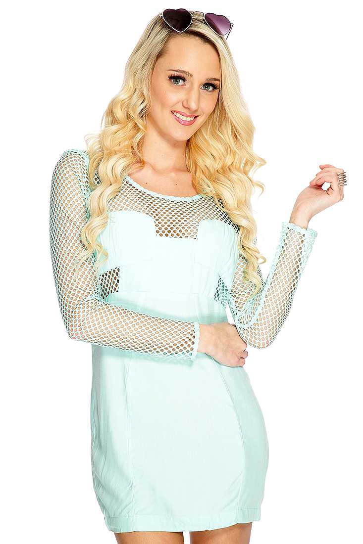 Mint Netted Long Sleeve Sexy Party Dress