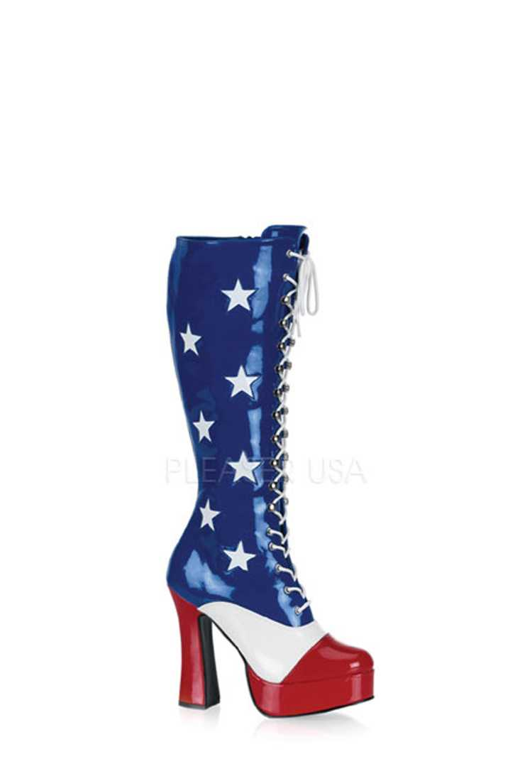 Blue Red White American Flag Boots Patent