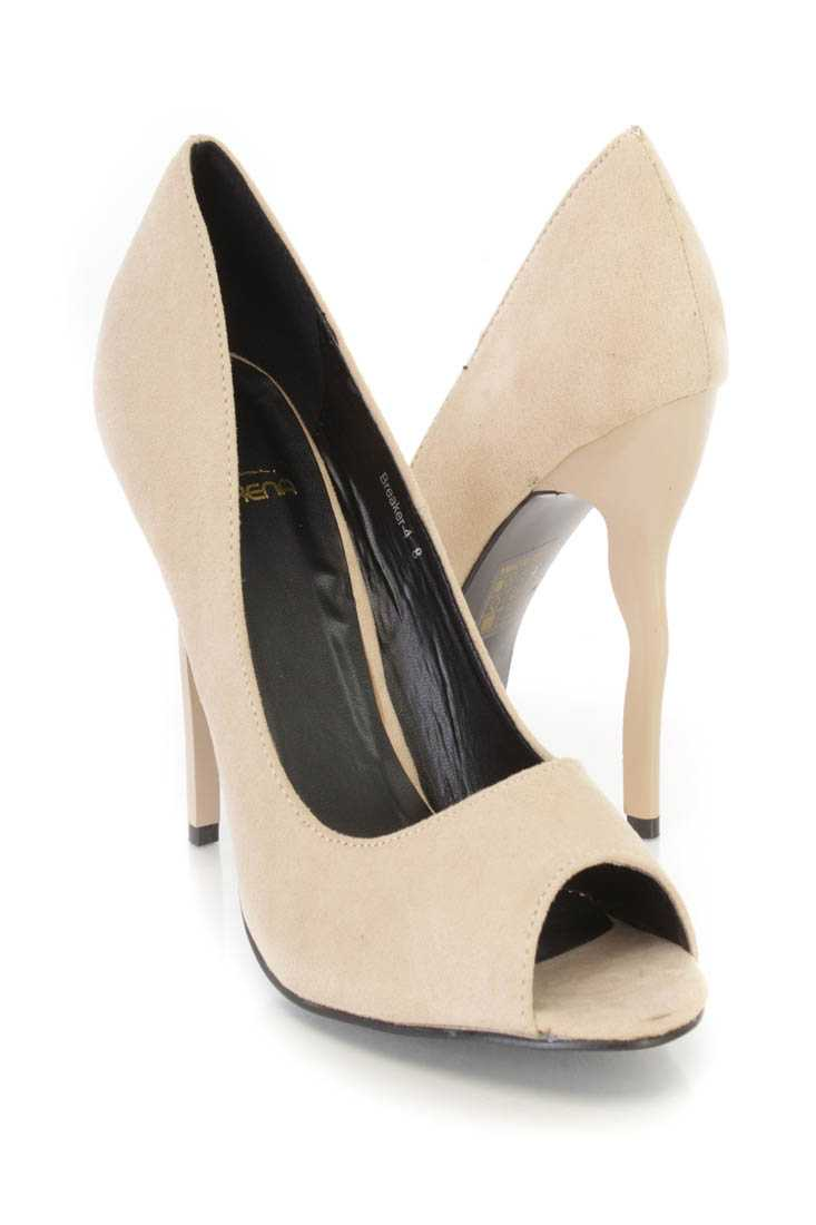 Nude Peep Toe Single Sole Pump High Heels Faux Suede