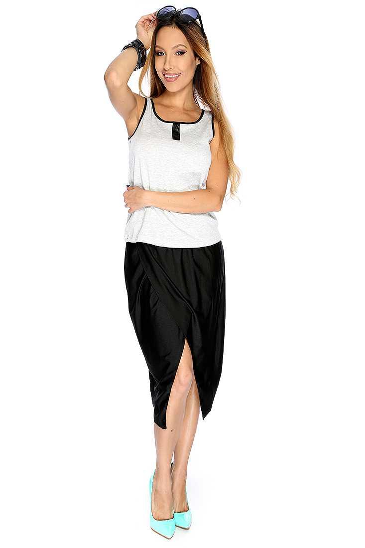 Grey Black Sleeveless Faux Leather Trim 2 Piece Causal Dress