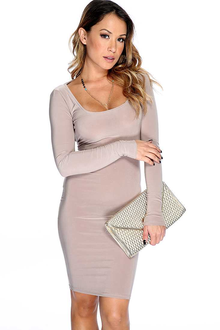 Sexy Taupe Cut Out Racer Back Short Party Dress