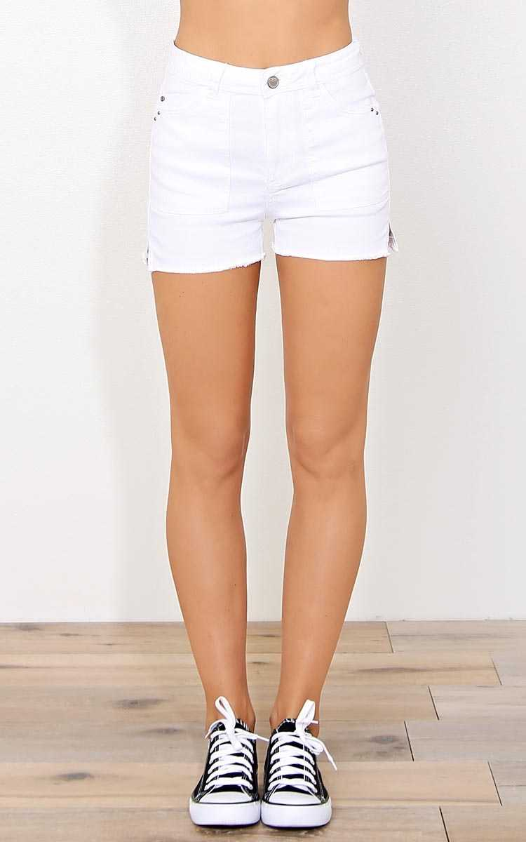 Malibu High Waisted Denim Shorts - White Denim in Size by Styles For Less