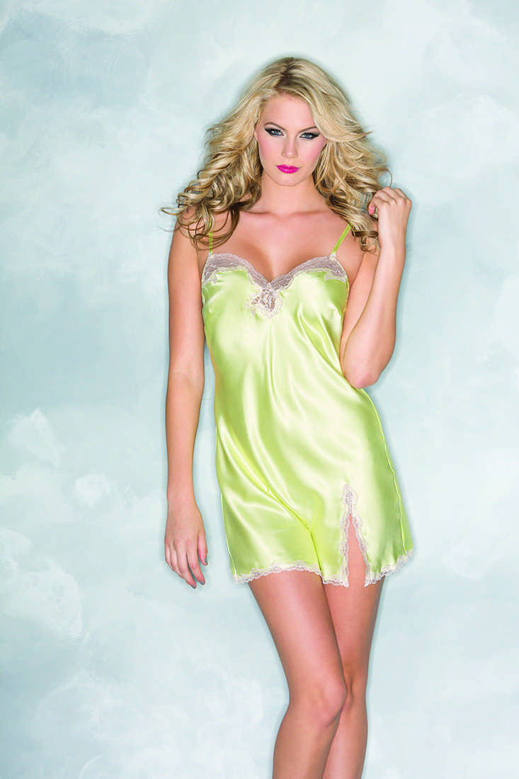 Yellow Laced Detail Front Slit Satin Babydoll Lingerie
