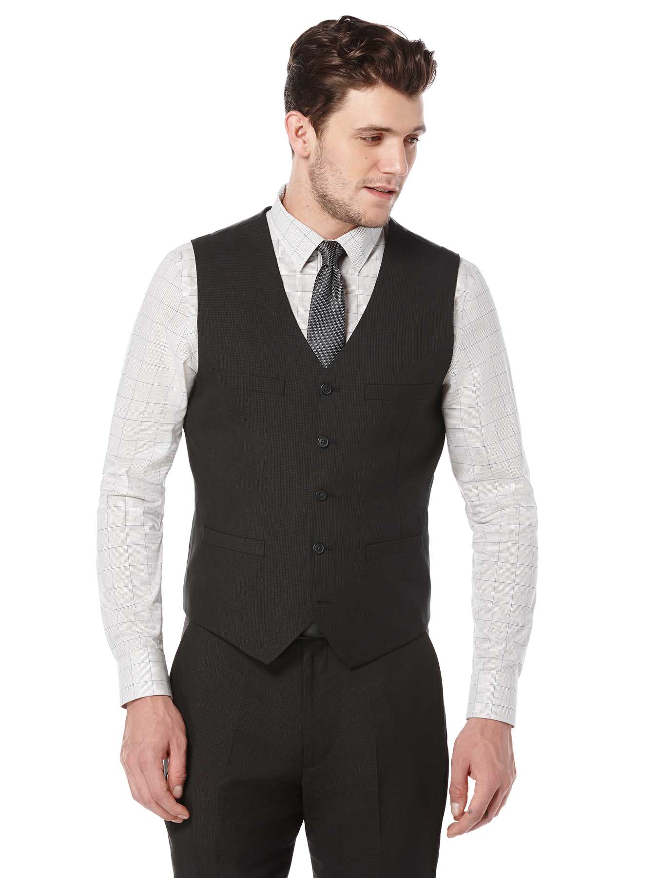 Perry Ellis Tonal Mini Check Suit Vest