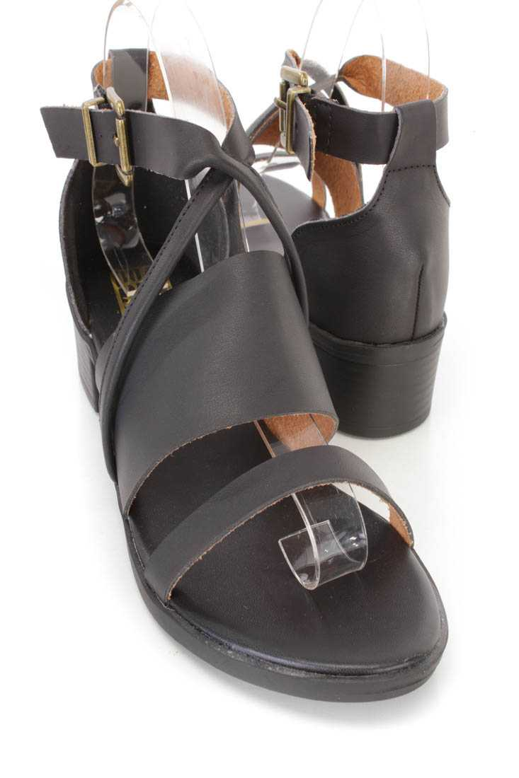 Black Strappy Chunky Heel Sandals Faux Leather