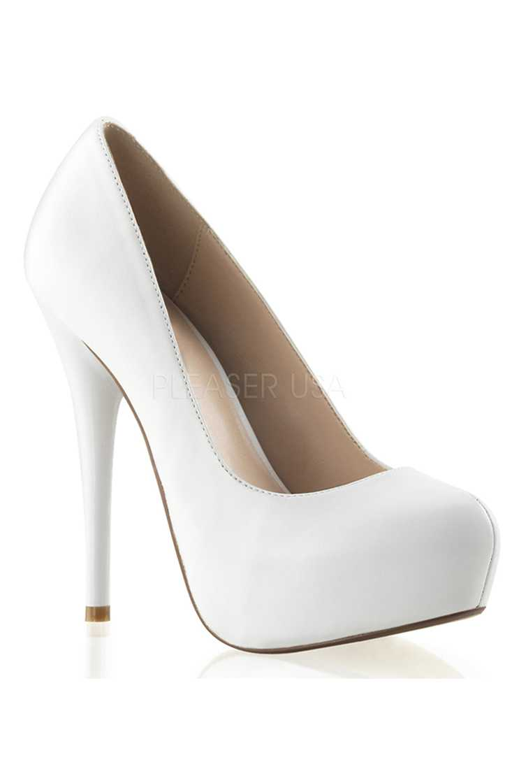White Round Toe Platform High Heels Pumps Faux Leather