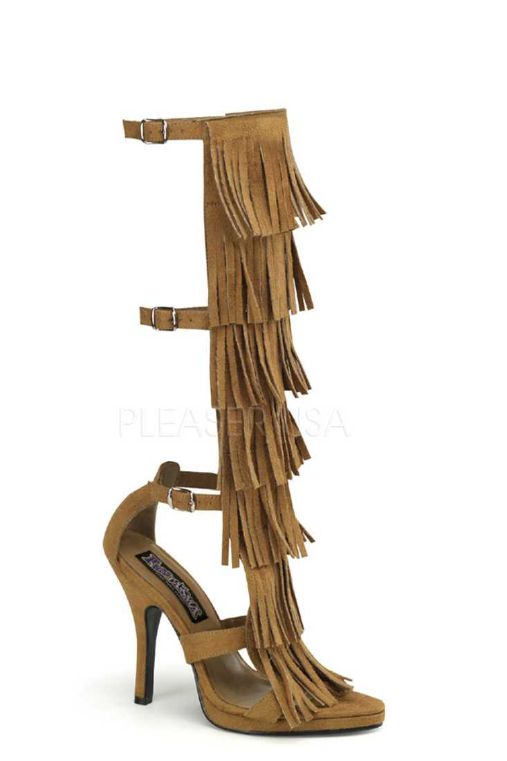 Tan Fringe Tiered High Heels Faux Suede