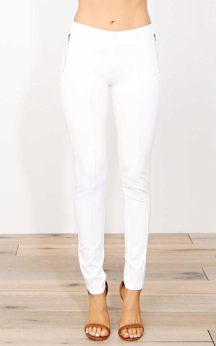 Christa Ponte Jeggings - LGE - White in Size Large by Styles For Less