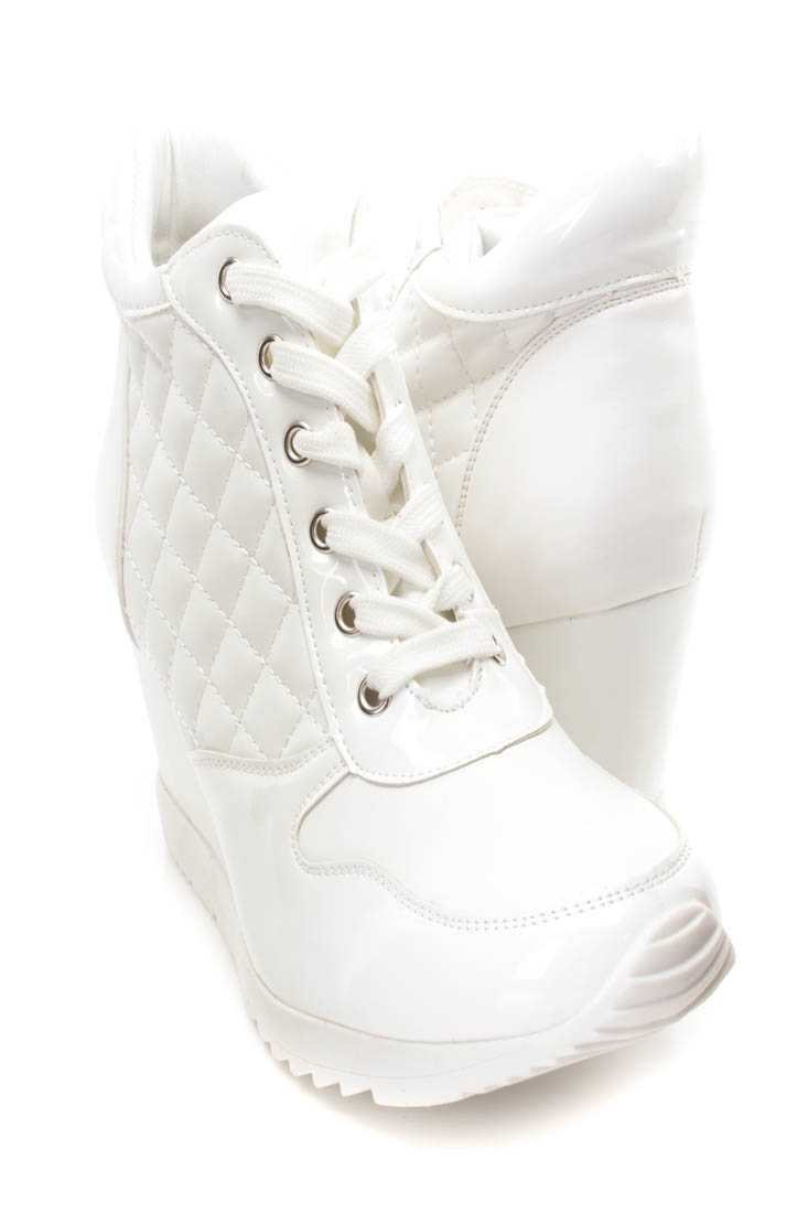 White Quilted Lace Up Sneaker Wedges Faux Leather