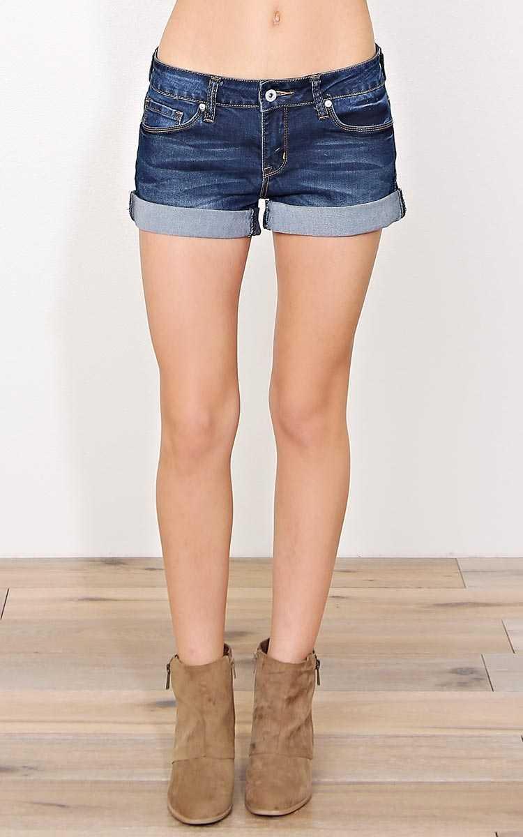 Tara Cuffed Denim Shorts - Dark Denim in Size by Styles For Less