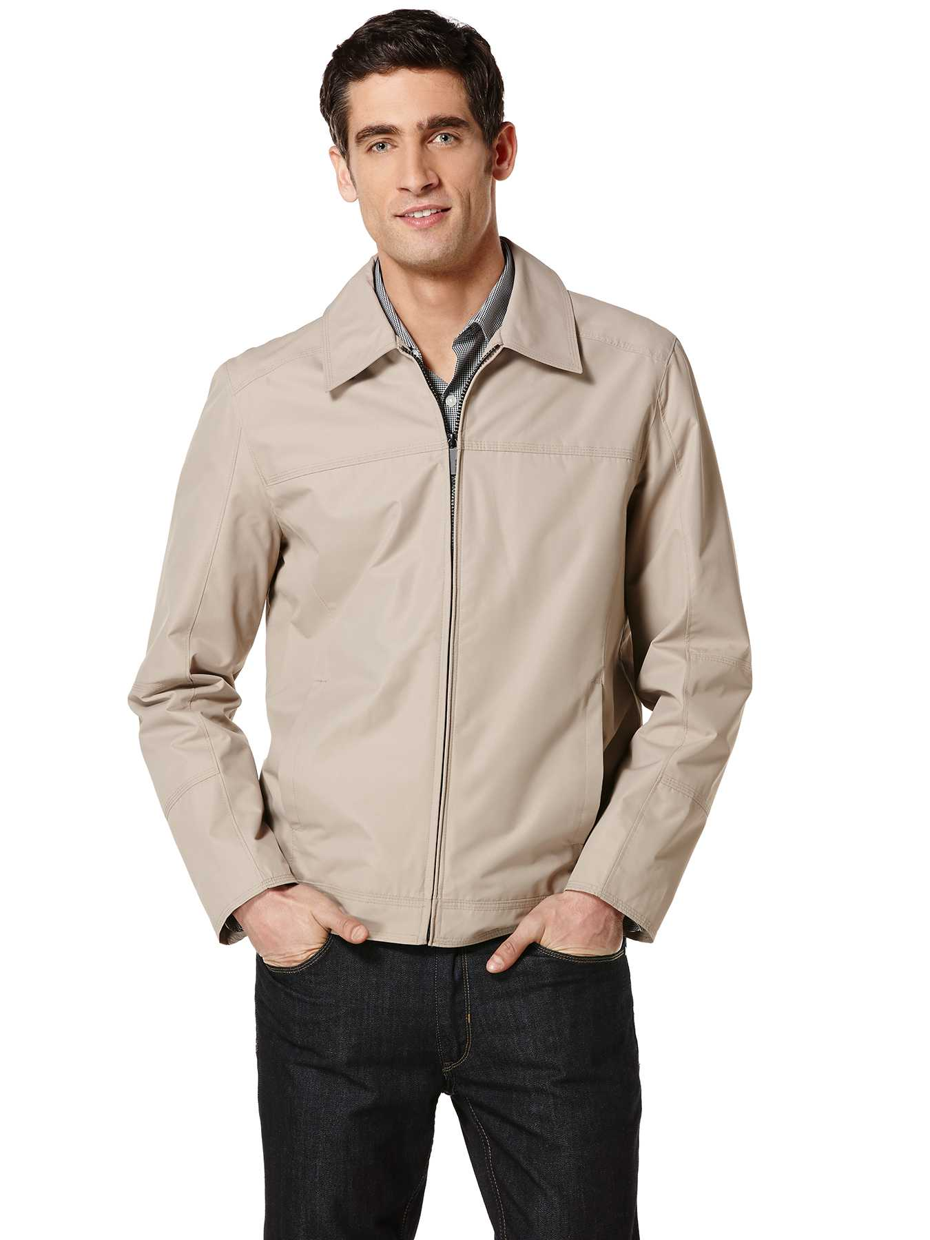 Perry Ellis Dobby Tech Zip Front Bomber Jacket