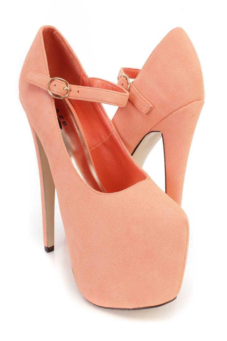 Peach Maryjane Platform 6 Inch High Heels Faux Suede