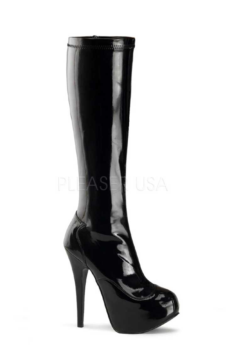 Black Knee High Platform Heel Boots Stretch Patent