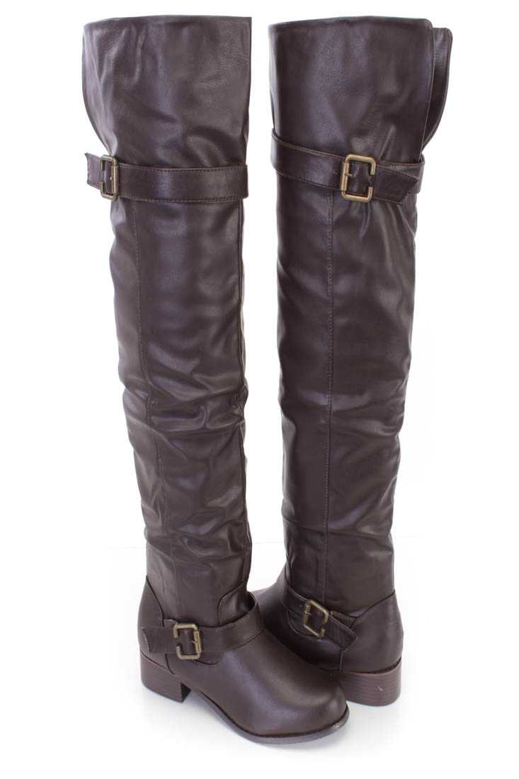 Brown Thigh High Flat Riding Boots Faux Leather