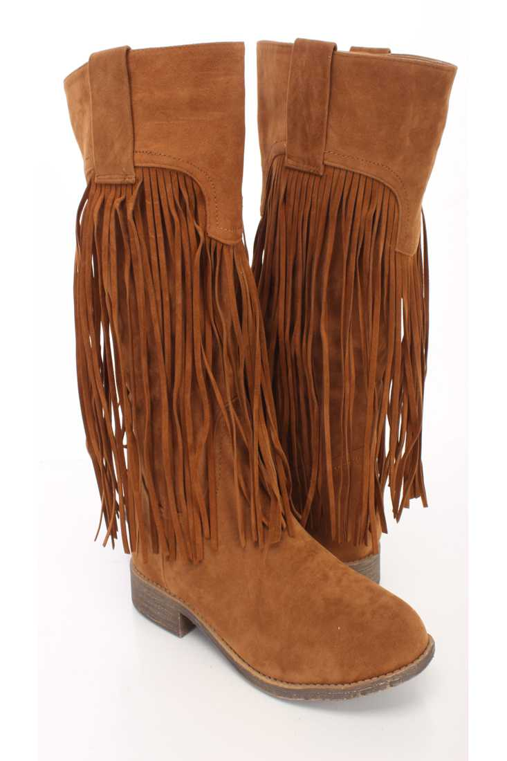Camel Fringe Closed Toe Mid Calf Boots Faux Suede